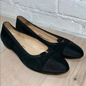 Black Mini Bow Satin and Suede Flats Size  6.5